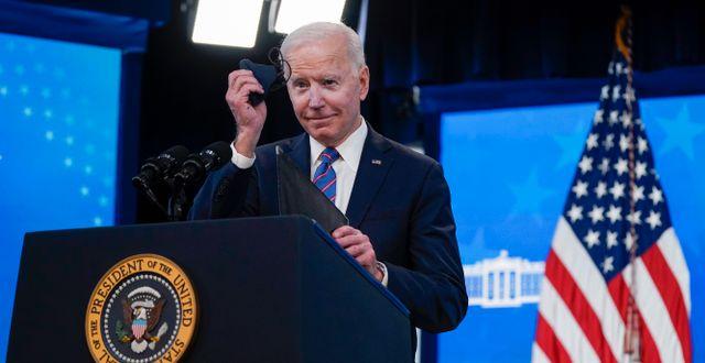 Joe Biden under ett tal igår. Evan Vucci / TT NYHETSBYRÅN