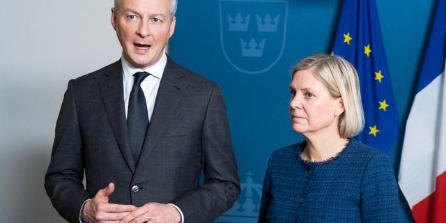 Bruno Le Maire och Magdalena Andersson. Arkivbild. Naina Helén Jåma/TT / TT NYHETSBYRÅN
