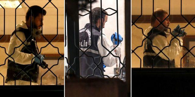 Turkiska tekniker undersöker saudiska konsulatet på måndagskvällen. TT