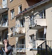 Bild över förstörelse efter explosionen i Linköping i juni. Jeppe Gustafsson/TT / TT NYHETSBYRÅN