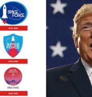 De föreslagna loggorna/Donald Trump.  Trumpkampanjen/TT