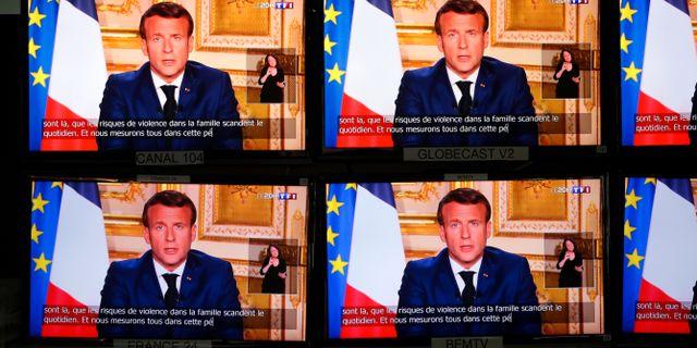 Macron i tidigare tv-tal. CHARLES PLATIAU / TT NYHETSBYRÅN