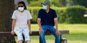 Texasborna Jeff and Raynette Ho på hundpromenad i munskydd.  Smiley N. Pool / TT NYHETSBYRÅN
