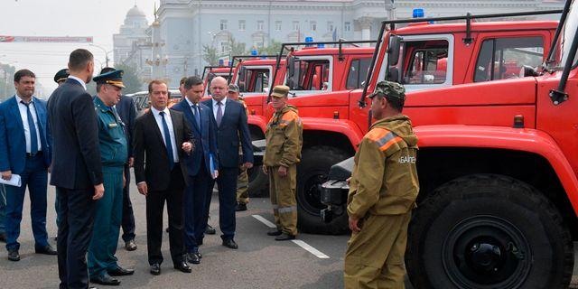 Dmitrij Medvedev i staden Tjita. Alexander Astafyev / TT NYHETSBYRÅN/ NTB Scanpix