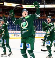 Färjestad-spelare jublar efter vinst mot Frölunda.  FREDRIK KARLSSON / BILDBYRÅN