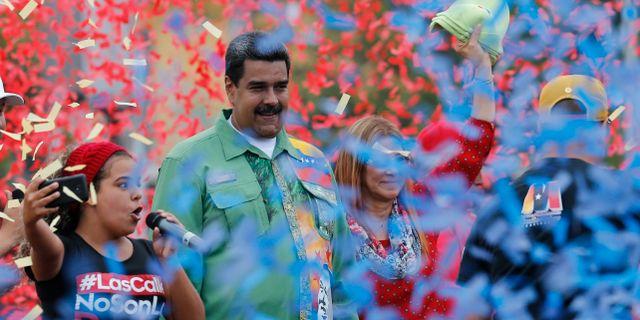 Sittande president Nicolás Maduro väntas vinna söndagens val i Venezuela.  Ariana Cubillos / TT / NTB Scanpix