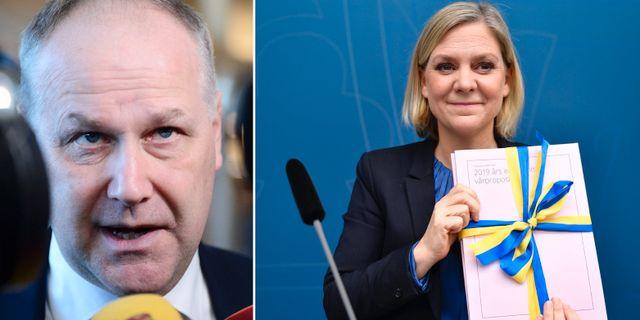 Jonas Sjöstedt och finansminister Magdalena Andersson. TT