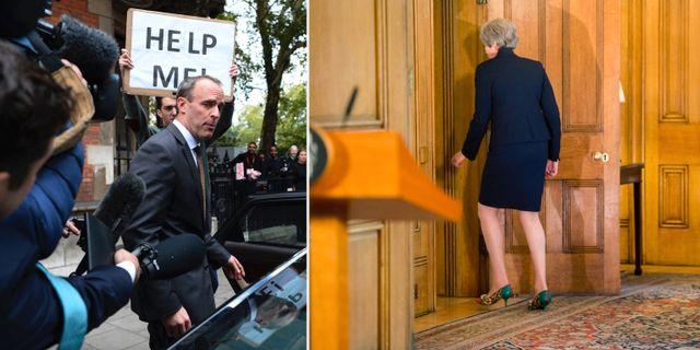 Brexitministern Dominic Raab. Premiärminister Theresa May. TT