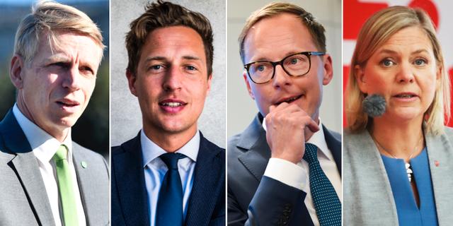 Per Bolund (MP), Emil Källström (C), Mats Persson (L) och Magdalena Andersson (S). TT