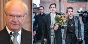 Från vänster: Kungen, Svenska Akademiens ständiga sekreterare Sara Danius och Akademiledamoten Sara Stridsberg.  TT