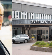 Josefin Nilsson och SVT:s fasad.  TT