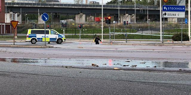 Polis på plats på fredagsmorgonen Tove Eriksson/TT / TT NYHETSBYRÅN