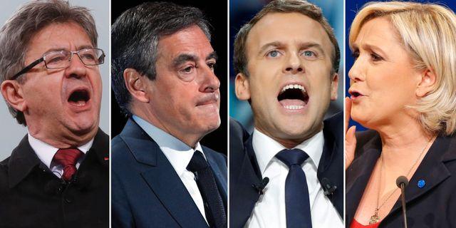 Jean-Luc Mélenchon, François Fillon, Emmanuel Macron och Marine Le Pen. TT
