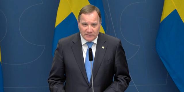 Statsminister Stefan Löfven under dagens pressträff. Regeringen