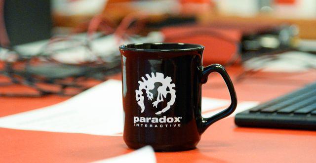 Arkivbild: En mugg med Paradox-logga.  Gustav Sjöholm/TT / TT NYHETSBYRÅN