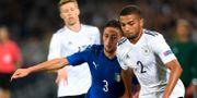 Bild från gårdagens match mellan Italien och Tyskland. JANEK SKARZYNSKI / AFP