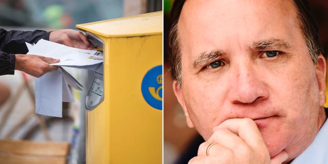 En person postar brev samt statsminister Stefan Löfven (S). TT.