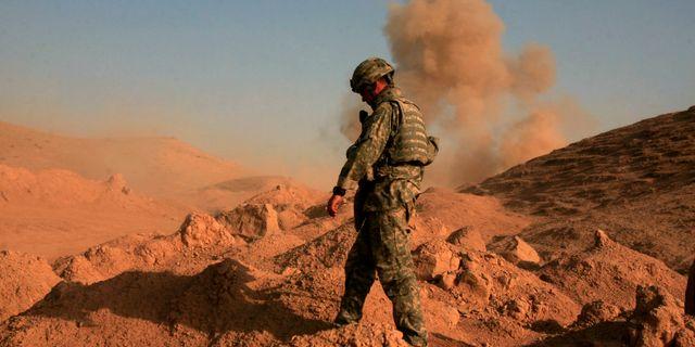 Amerikansk soldat i insatser mot al-Qaida i Hamrinbergen, 2008. Maya Alleruzzo / TT NYHETSBYRÅN