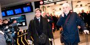 Puigdemont anländer till flygplatsen i Köpenhamn. TARIQ MIKKEL KHAN / Scanpix