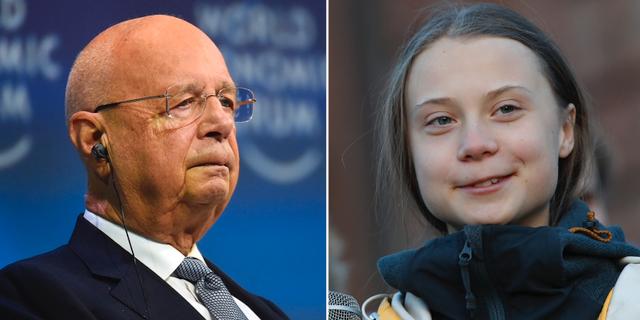 Klaus Schwab och Greta Thunberg. TT