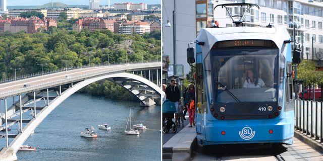 Västerbron och en spårvagn i Stockholm. TT.