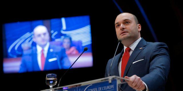 Georgiens premiärminister Mamuka Bakhtadze. Vincent Kessler / TT NYHETSBYRÅN