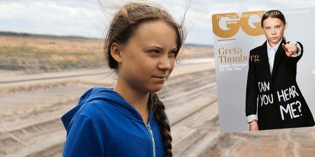 Greta Thunberg/GQ:s förstasida. Oliver Berg / TT NYHETSBYR≈N/ NTB Scanpix