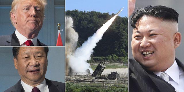 President Donald Trump, Kinas ledare Xi Jinping, vapentest i Nordkorea, Nordkoreas ledare Kim Jong-Un. TT