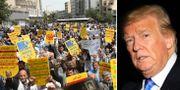 Demonstration mot USA i Teheran, Donald Trump. TT.