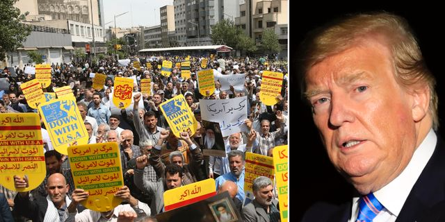 Demonstration mot USA i Teheran, Donald Trump. TT.