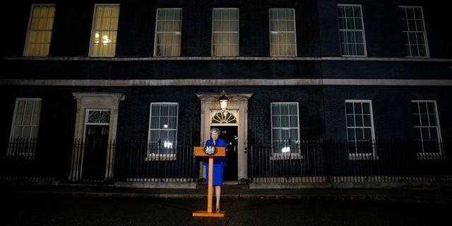 Theresa May höll på onsdagskvällen ett anförande, efter att ha klarat misstroendeomröstningen. HENRY NICHOLLS / TT NYHETSBYRÅN