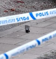 Macheten låg kvar på marken efter attacken. Anders Wiklund/TT / TT NYHETSBYRÅN