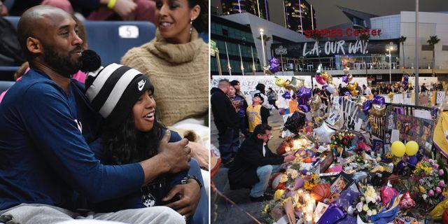 Kobe och Gianna Bryant. Utanför Staples Center har fans flockats för att lämna blommor, tända ljus och minnas basketstjärnan. TT