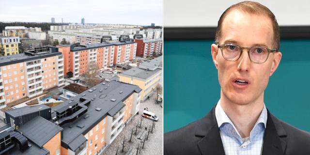 Vy över bostadsområdet Tensta / Socialborgarrådet Jan Jönsson (L).  TT