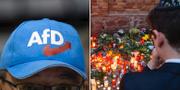 AFD-supporter/Minnesplats vid synagogan i Halle. TT