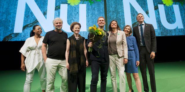 Alice Bah Kuhnke, Peter Eriksson, Amanda Lind, Gustav Fridolin, Isabella Lövin, Karolina Skog och Per Bolund.  Peter Krüger/TT / TT NYHETSBYRÅN