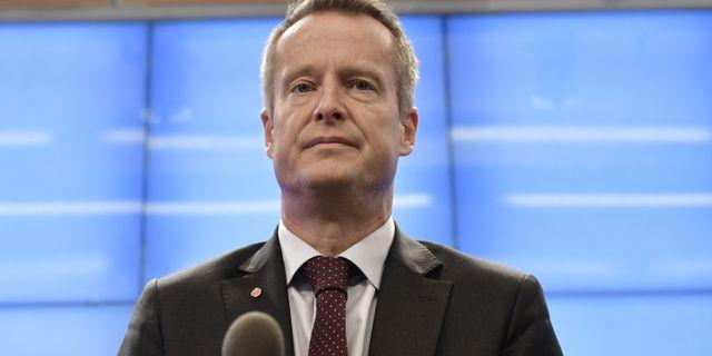 Anders Ygeman på dagens pressträff. Stina Stjernkvist/TT / TT NYHETSBYRÅN