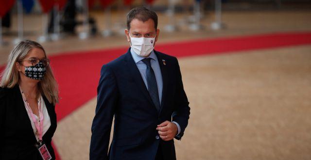 Slovakiens premiärminister Igor Matovic vid EU-toppmötet i Bryssel tidigar eunder veckan.  Francisco Seco / TT NYHETSBYRÅN