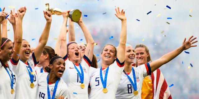 USA firar VM-guldet.  PETTER ARVIDSON / BILDBYRÅN