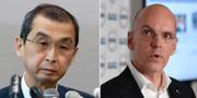 Shigehisa Takada, vd på Takata, och Jan Carlson, vd på Autoliv.  TT