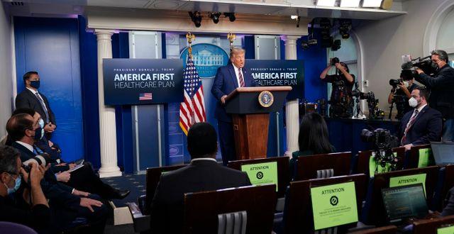 Trump visade sig för pressen igen på fredagen. Susan Walsh / TT NYHETSBYRÅN