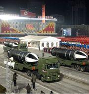 Missiler under en militärparad i Pyongyang i januari. TT NYHETSBYRÅN