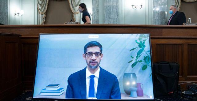 Googles vd Sundar Pichai under utfrågningen.  Michael Reynolds / TT NYHETSBYRÅN