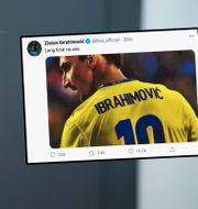 Stefan Pettersson och Zlatans tweet. JOEL MARKLUND / BILDBYRÅN