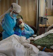 Kvinna sitter vid sin covidsjuke mans dödsbädd i Fullerton, Kalifornien/Arkivbild.  Jae C. Hong / TT NYHETSBYRÅN