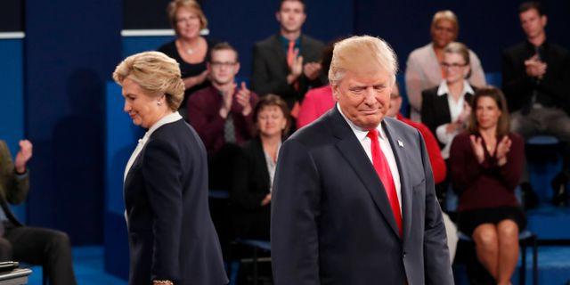 Hillary Clinton och Donald Trump under debatt i oktober 2016. Rick T. Wilking / TT NYHETSBYRÅN