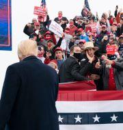 Donald Trump under ett valmöte. Alex Brandon / TT NYHETSBYRÅN