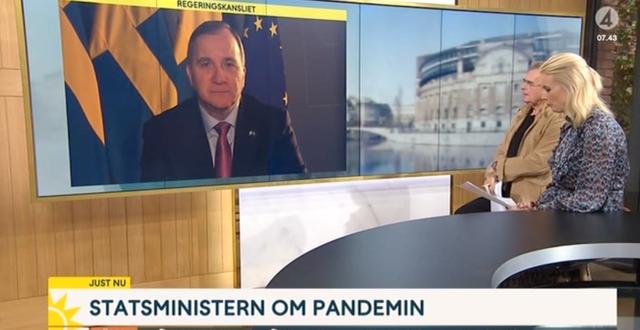 Statsminister Stefan Löfven under intervjun imorse. TV4