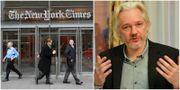 New York Times högkvarter/Julian Assange.  TT