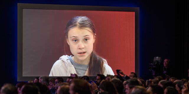 Greta Thunberg i Davos. FABRICE COFFRINI / AFP